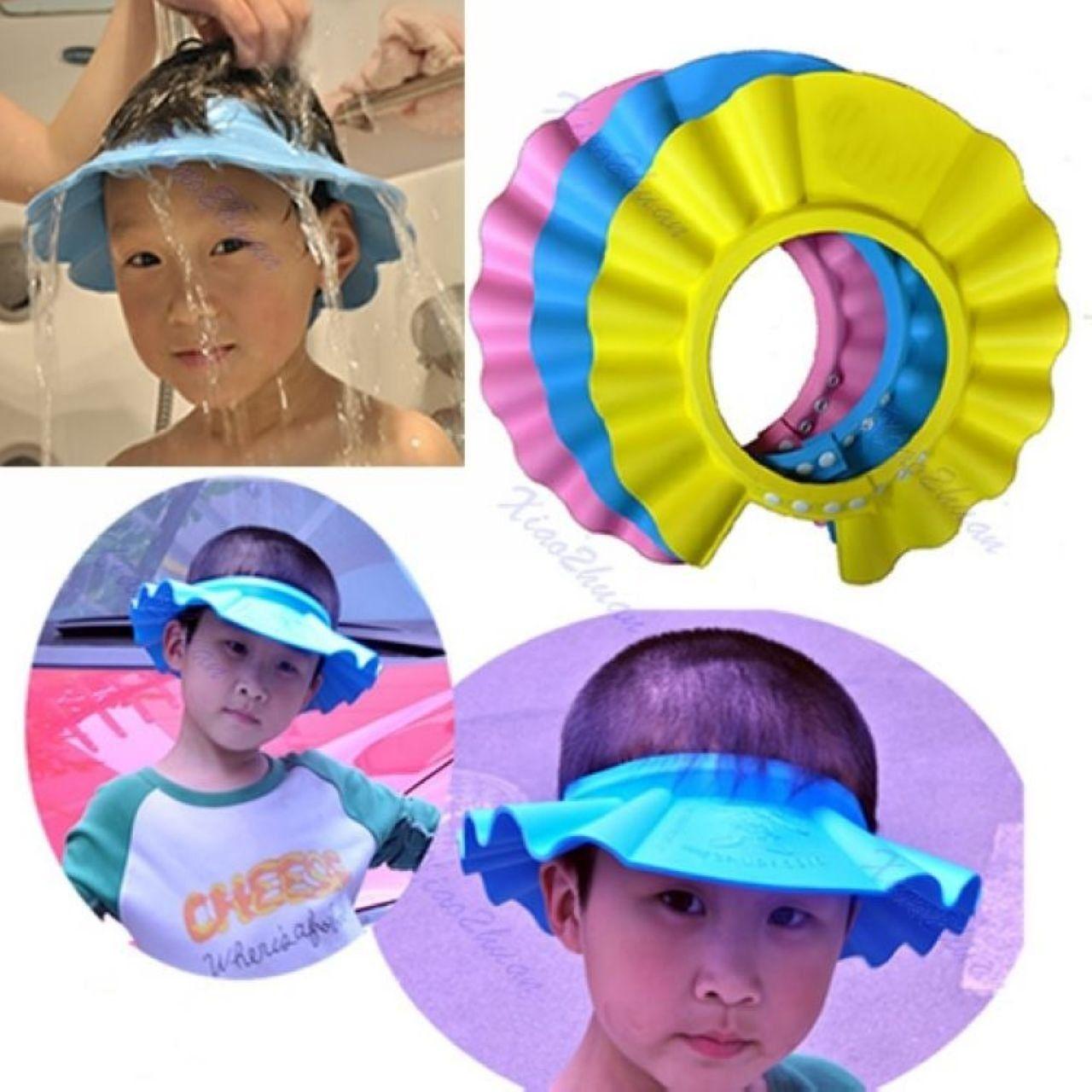 c406e5d40eb Amazon.com   EWIN(R) 4pcs Soft Adjustable Baby Kids Children Shampoo Bath  Bathing Shower Cap Hat Wash Hair Shield Hat   Baby