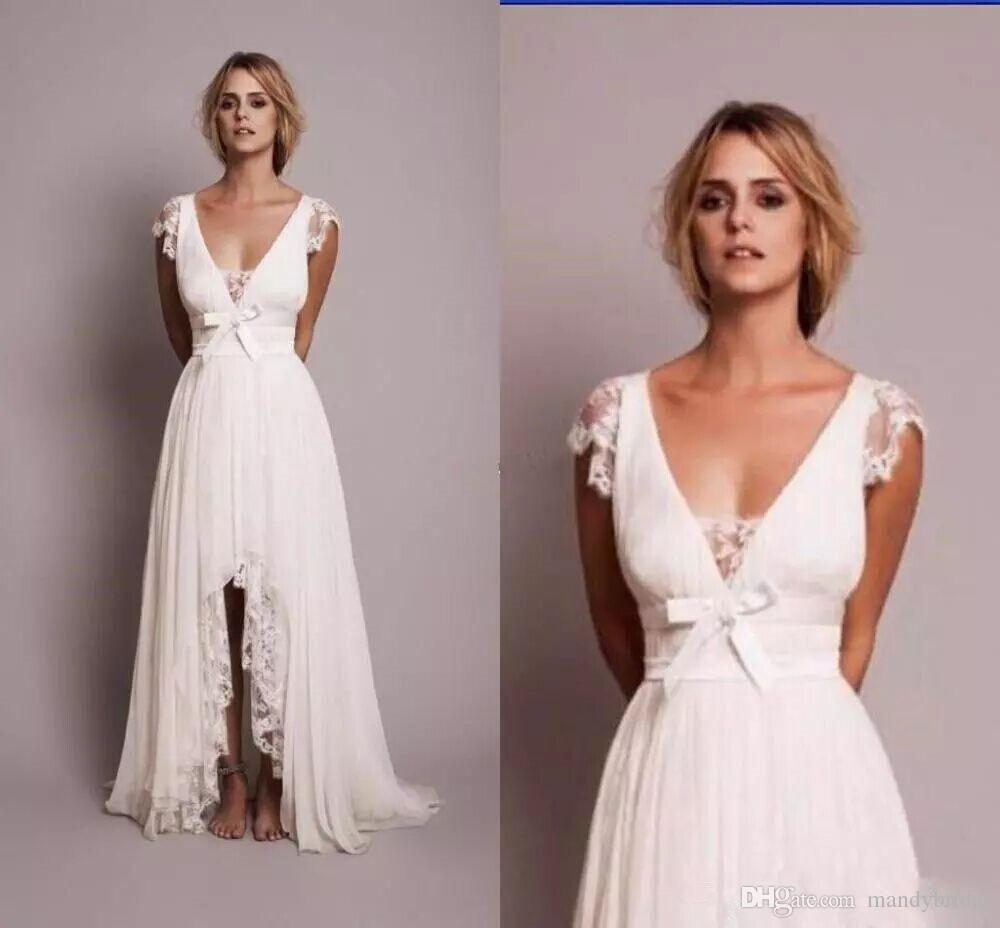 Country vintage lace wedding dresses  Vintage s Lace A Line Wedding Dresses V Neck Cap Sleeve Hi Low