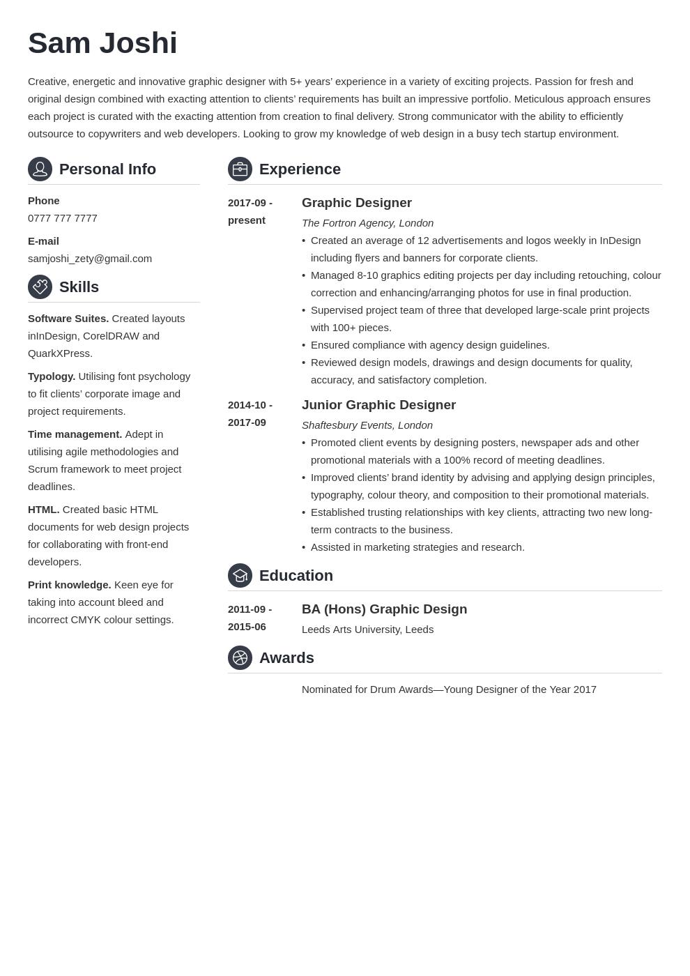 uk graphic designer cv example template crisp in 2020