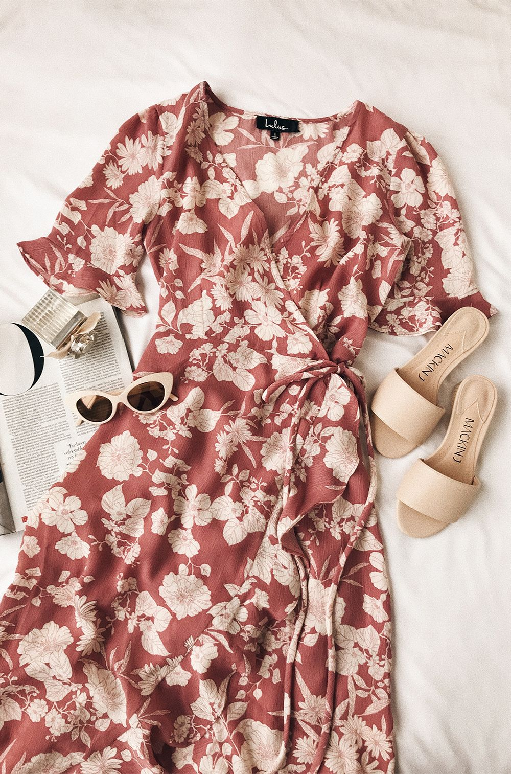 Wild Winds Pink Floral Print High Low Wrap Dress   Mouslim
