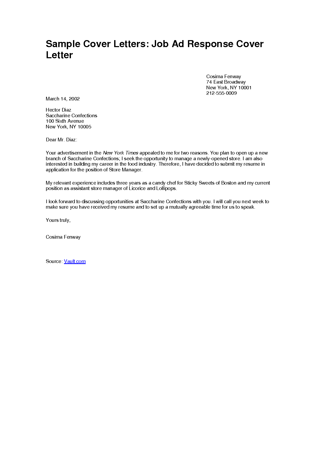 sample of cover letters for jobs
