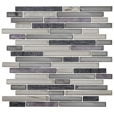 Jeffrey Court 13x11 3 4 Gl Quartz Silver Sea Pencil Mosaic Wall Tile 99660 Home Depot Canada Thinking This For The Kitchen