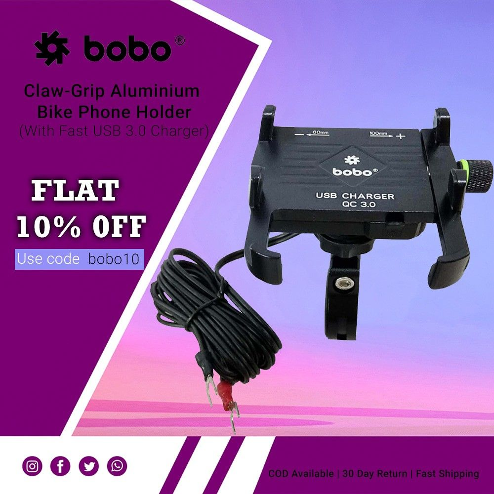 BOBO Claw-Grip Aluminium Waterproof Bike Phone Holder ( with fast USB 3.0  Charger ) ➖➖➖➖➖➖➖➖➖➖➖➖ Key Features ✔️ Claw-Grip security. ✔️ Always connected. ✔️ Always Secured. ✔️ All tolls and spare parts included. ✔️ We provide 1 year warranty. ✔️ Ideal for Maps and GPS Navigation. ➖➖➖➖➖➖➖➖➖➖➖➖ . . . . . #bikes #bikers #bikerider #riders #superbikes #biking #bikingendut #bikelife #bike #bikecare #bikeaccessories #biker #bikersfamily #bikepacking #bikelovers #loveforbike #tech #biketech #gears #ge