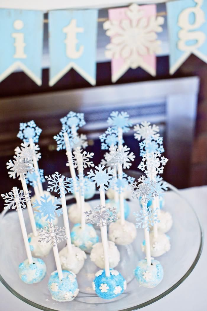 Add Snowflake Embellishments To Cake Pops For Added Winter Detail