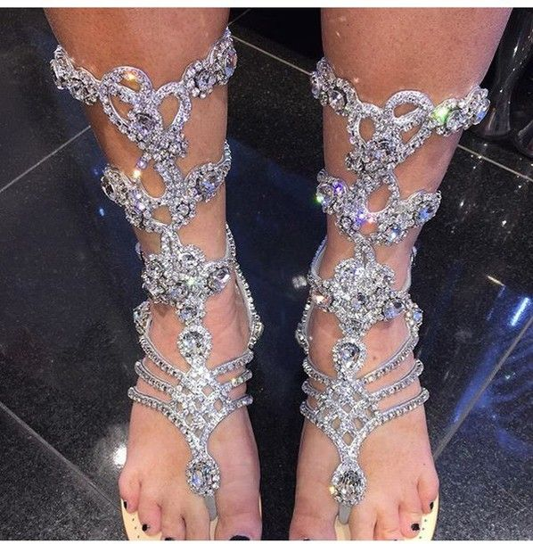Shoes Rhinestones Gladiators Sandals Flat Flats Crystal