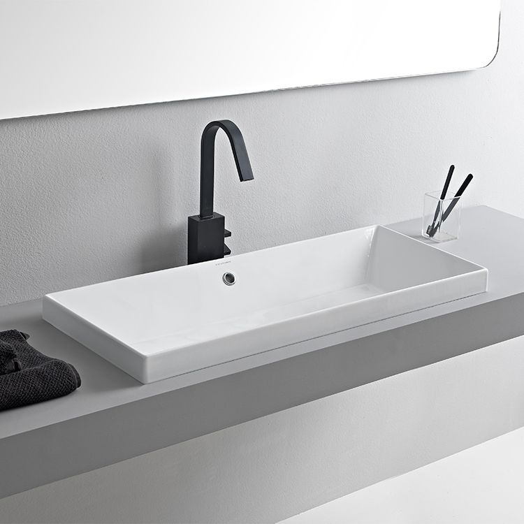 Rectangular White Ceramic Trough Drop In Sink With Images