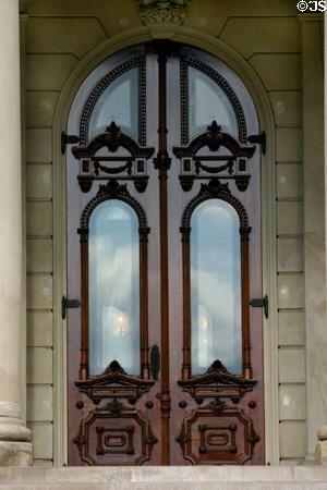 Front door of Michigan State Capitol. Lansing, MI.