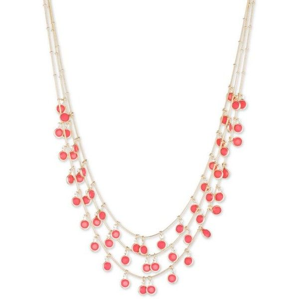 Anne Klein Coral Gold-Tone Coral Bead Multistrand Necklace ($36) ❤ liked on Polyvore featuring jewelry, necklaces, coral, coral bead necklace, beading necklaces, beaded jewelry, multi-chain necklace and multi strand necklace