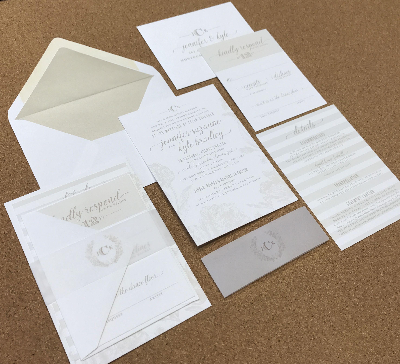Wedding Invite Neutrals Cream White Ivory Floral Vellum