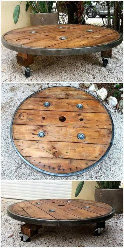 20+ Ideas Craft Table On Wheels Wire Spool #cablespooltables