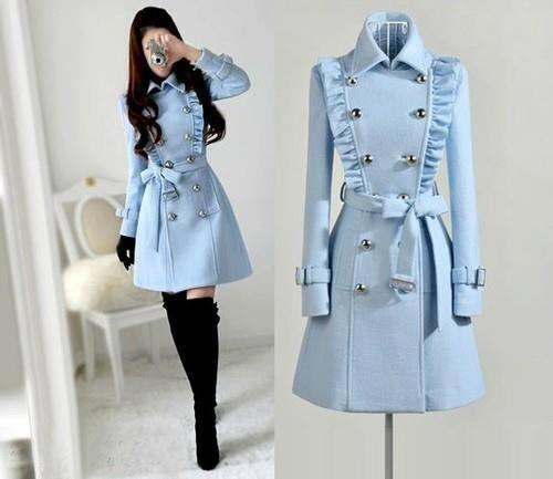 bajo precio d807e 33069 Abrigo en color azul cielo   Dresses!   Abrigos de moda ...
