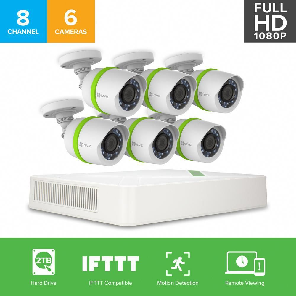 Ezviz Security Cameras 8 Channel 1080p 2tb And Up Hdd Surveillance Systems Night Vision Works With Alexa Using Ifttt Bd 2826b2 The Home Depot Home Security Systems Security Camera System Surveillance System