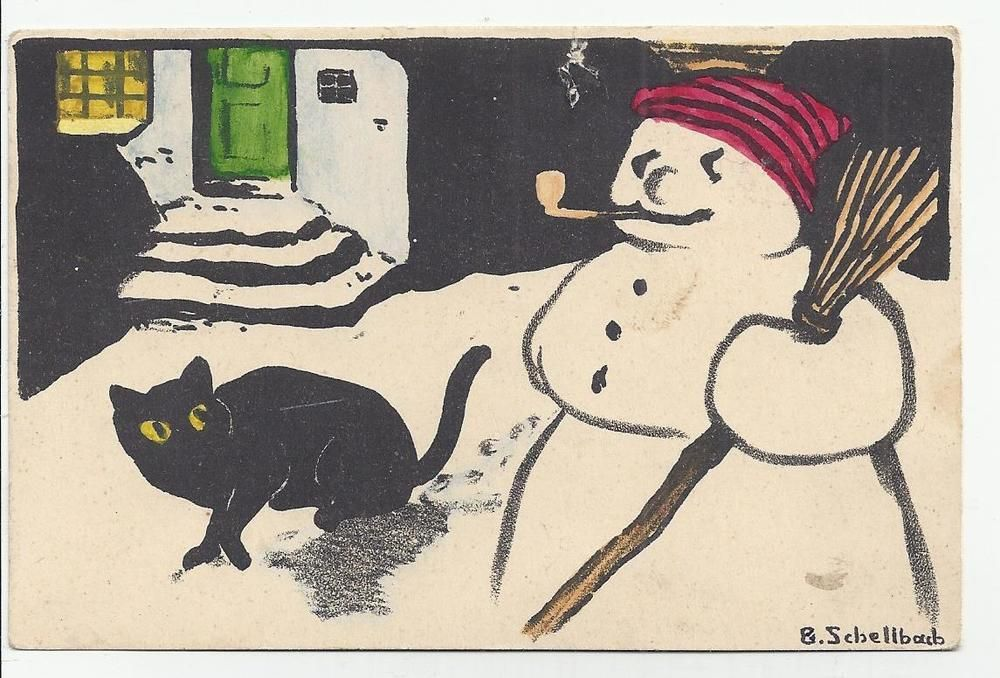 B. Schellbach - black Cat looking a Snowman w Pipe a red Bonnet
