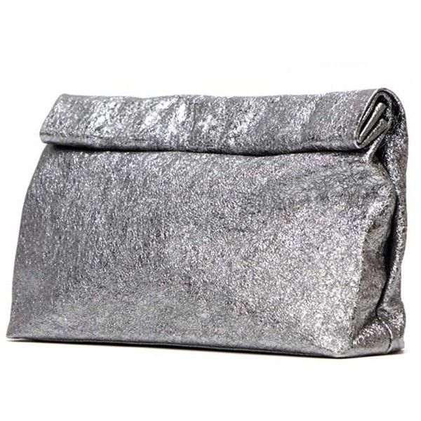 Dinner Clutch Pewter Foil By Marie Turnor 24 235 Rub Liked On Polyvore Featuring
