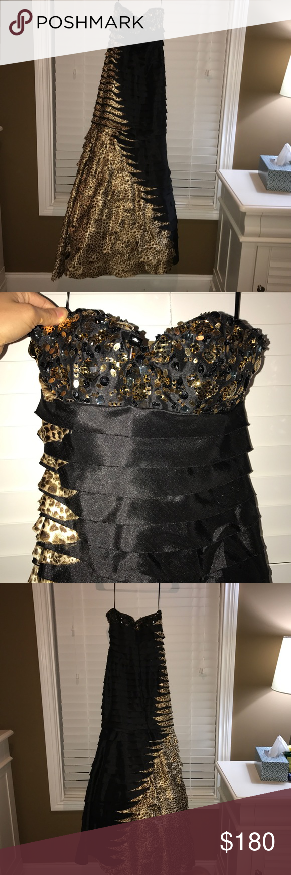 Beautiful black cheetah print prom dress s a l e worn once for