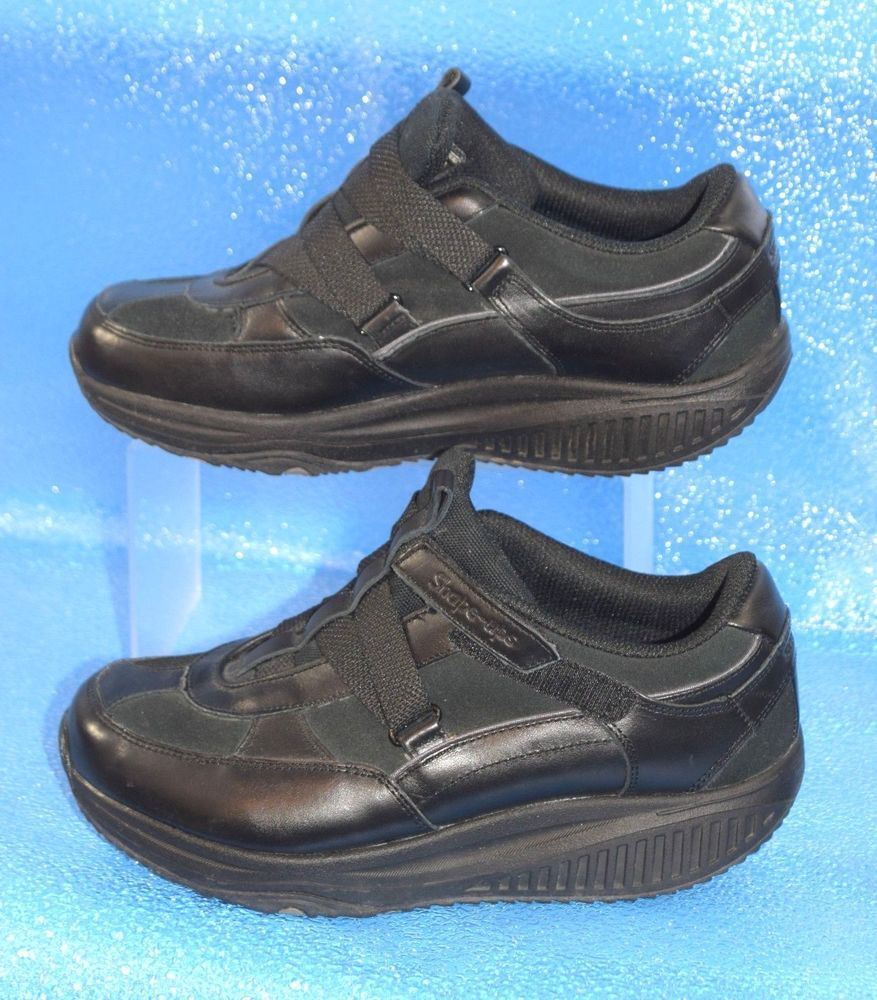 Skechers Size 5.5 Black Leather Velcro Closure Comfort Flats Sneakers Shoes