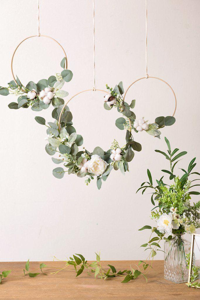 Cotton Eucalyptus Wreath (Set of 3) - White & Green