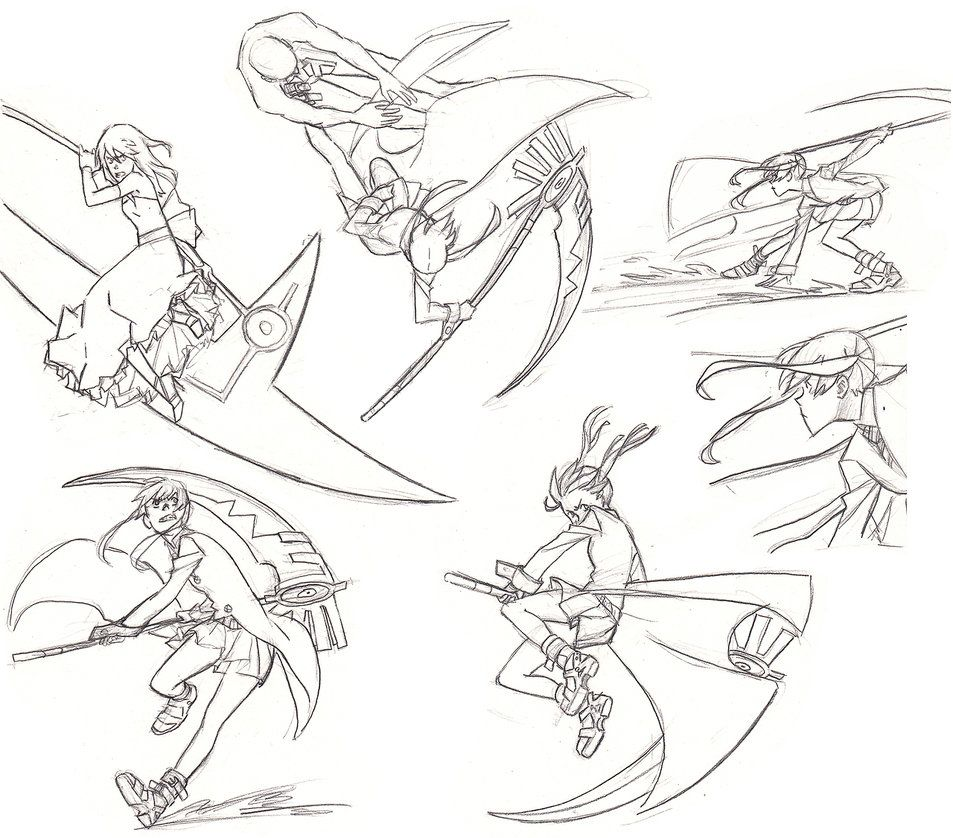 Maka In Action Fight Poses Anime Poses Reference Drawing Poses Fighting Poses