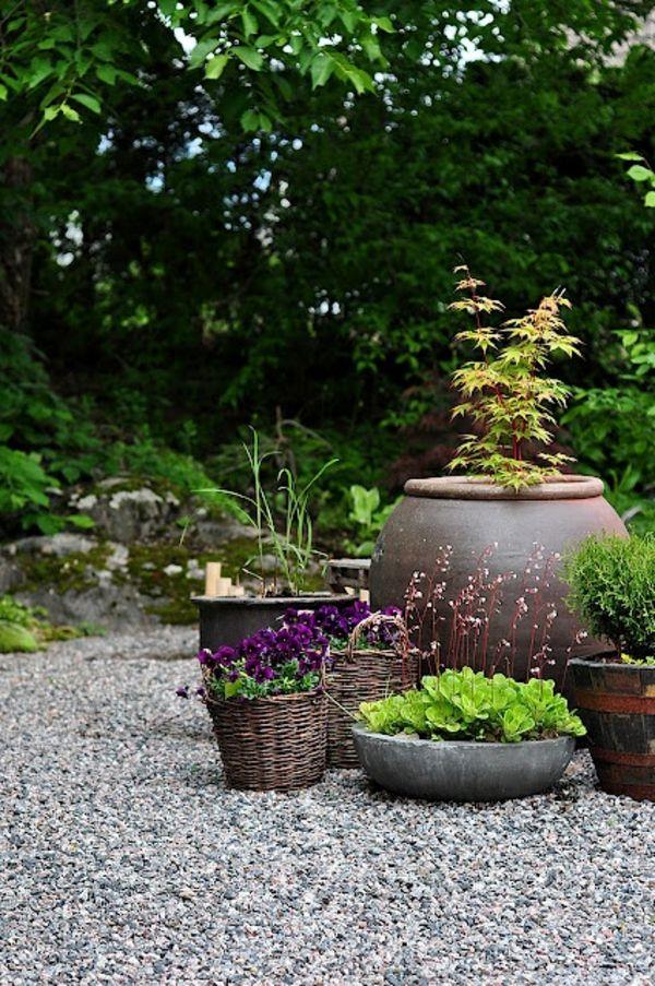 kies steine garten figuren rattan blumen ton dekoartikel | Garten ...