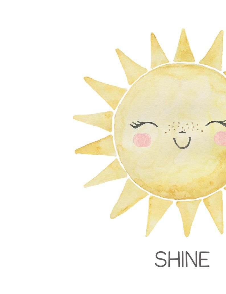 Watercolor Sun Moon And Star Wall Art Prints For Gender Neutral