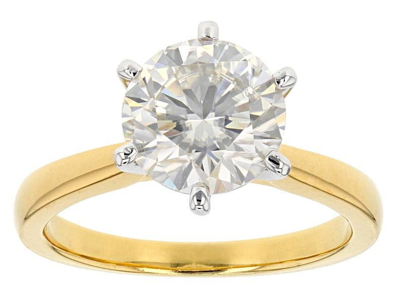 Moissanite Fire 2 70ct Diamond Equivalent Weight Round 14k Yellow Gold Over Sterling Silver Ring Msf926y Yellow Gold Rings Sterling Silver Rings Silver Rings