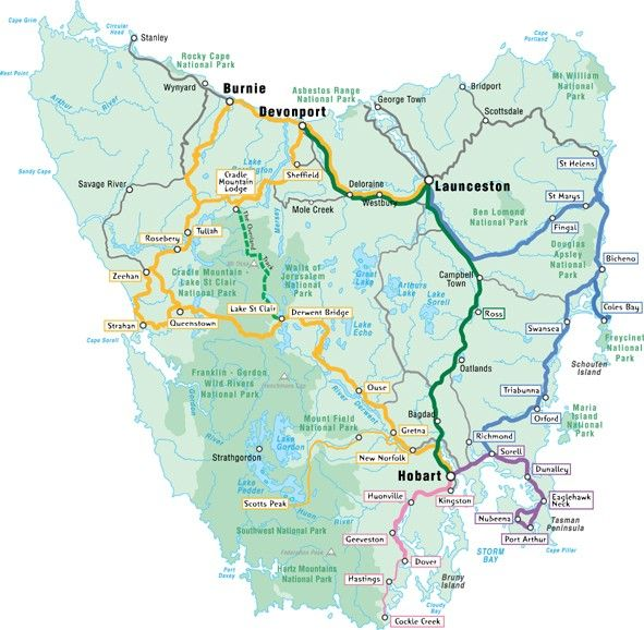 Here is a no fuss map of Tasmania showing the major touring routes