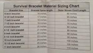 Paracord Bracelet Size Chart Google Search