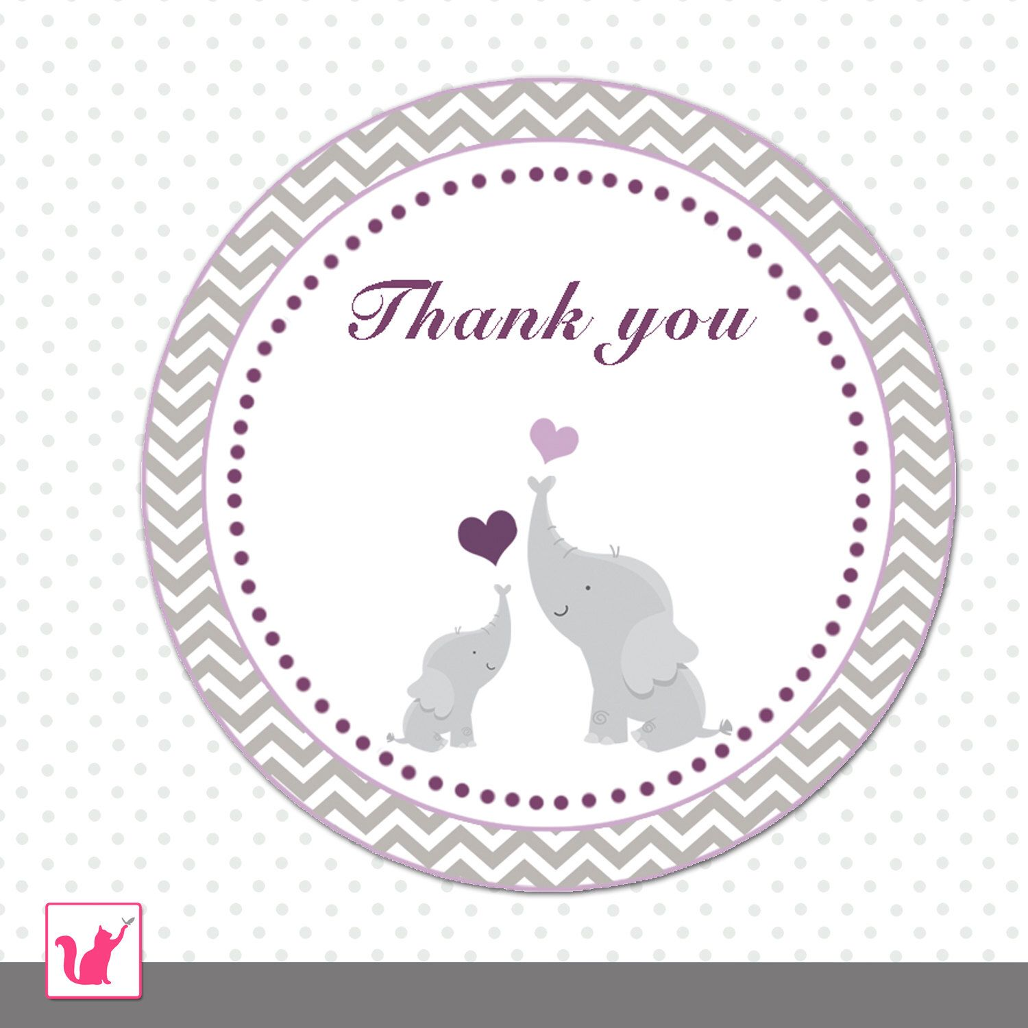 Elephant Favor Labels Grey Purple Chevron T Favor Thank You Tag Baby Girl Shower Party