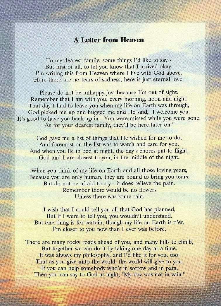 """Pin by Joyce McClellan on """"Dreams"""" Letter from heaven"""