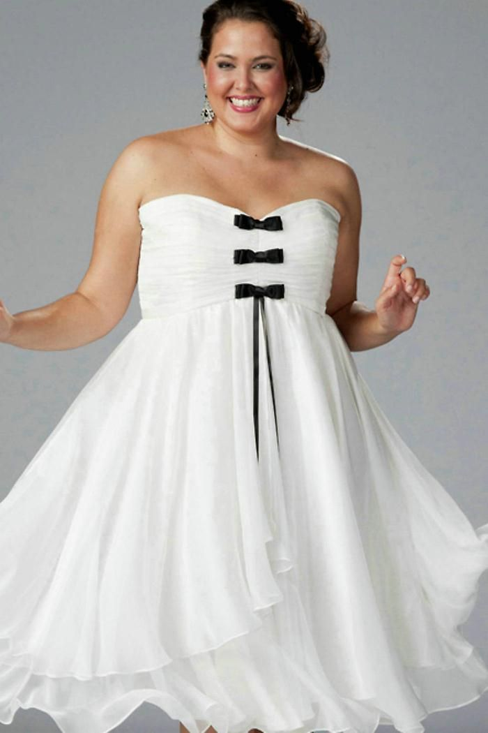 Plus Size White Cocktail Dress Black And White Wedding Pinterest