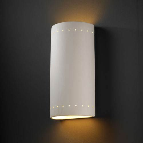 Really Big Cylinder with Perfs Open Top and Bottom Wall Sconce. Outdoor fixture includes Patented Socket Shelters. - Shade Material - Ceramic - Shade is made in the USA; canopy and socket (s) are imported Justice Design Group - CER-1195W-HMPW | Justice Design Group CER-1195W-HMPW Ambiance Really Big Cylinder w/ Perfs Two-Light Outdoor Wall Sconce in Hammered Pewter Made In USA, Transitional
