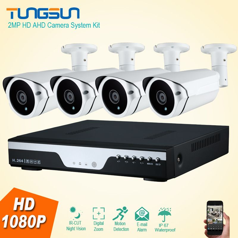 New HD 4CH AHD 2MP Home Outdoor Video Surveillance System Kit 4 ...