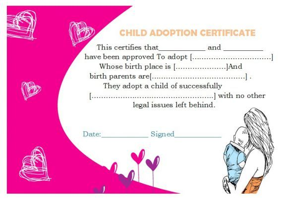 Child Adoption Certificate  Adoption Certificate Template