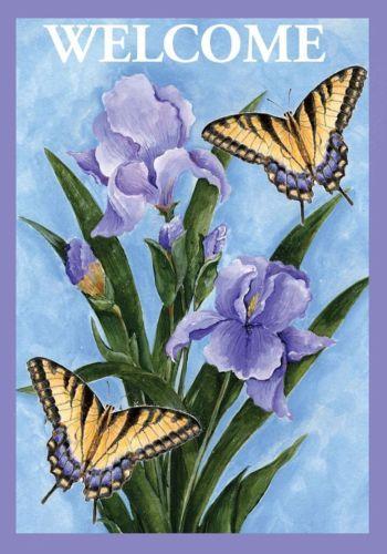 Butterflies Irises Spring House Flag Welcome Floral 28 X 40 Pansy Garden Garden Flags Spring Garden