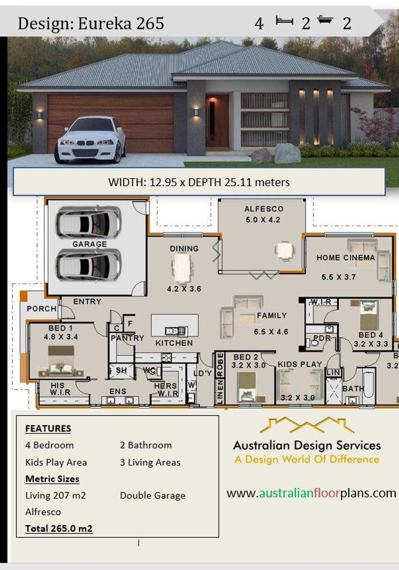 New Modern Home Plan 267 5 M2 Or 2873 Sq Feet 4 Bedroom Home Cinema Kids Play Room Concept House Plans For Sale In 2020 House Plans Australia Modern House Plans Family House Plans