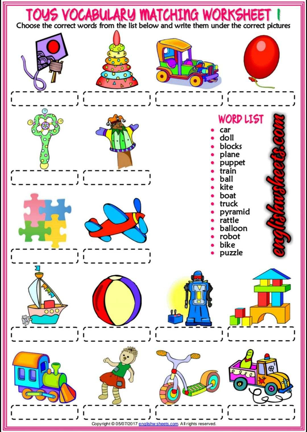 Toys Esl Printable Vocabulary Matching Exercise Worksheets For Kids Toys Esl Printables