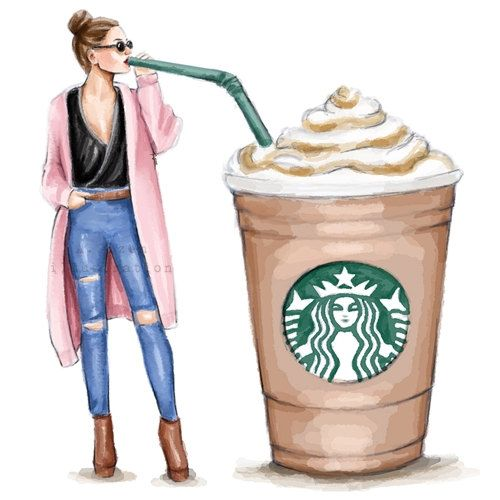 Starbucks Coffee Fashion Illustration Digital By StyleOfBrush