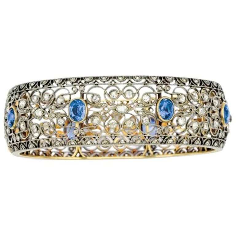 12 Carat Sapphire 7 Carat Diamond Silver And Gold Bangle Bracelet Gold Bangle Bracelet Gold Bangles Antique Bracelets