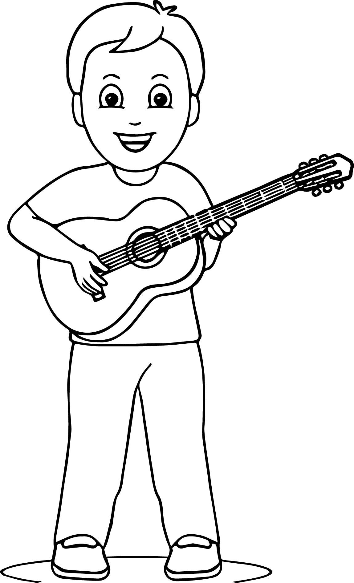 Nice Boy Playing Guitar Coloring Page