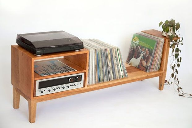 Put Your Records On Beautiful Wood Media Consoles ไอเด ย