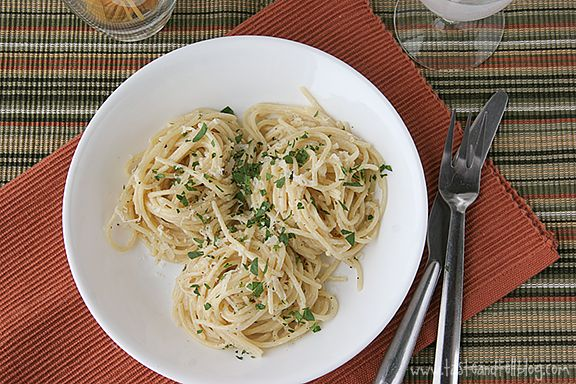Easy Parmesan Pasta--Started buying the Pasta-Roni version of this, but didn't know how easy it was to make!  You can also use evaporated milk instead of 1/2&1/2.