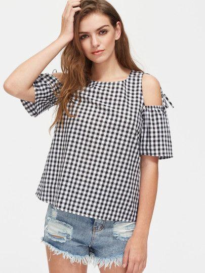 b9c21b19fb5fa2 Open Shoulder Self Tie Detail Gingham Top | blouse/suit | Dressy ...