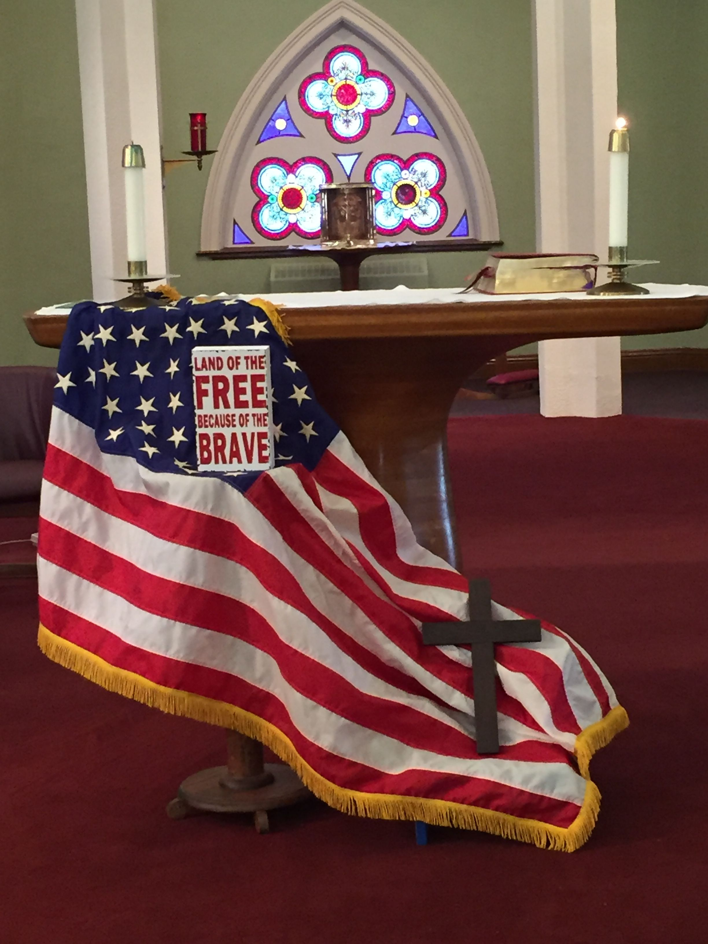 Memorial Day 2016 | Church altar decorations, Church display, Memorial day decorations