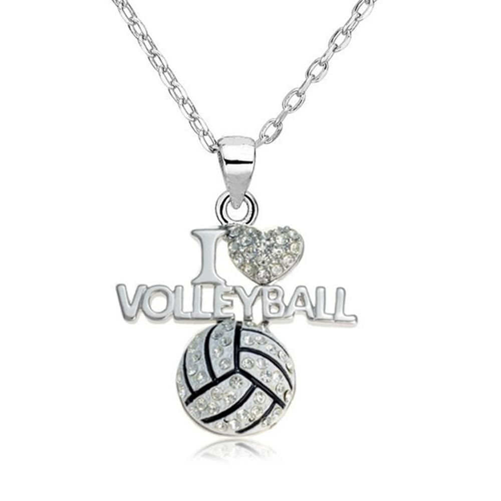 I Love Volleyball Pendant Necklace 4 Types Volleyball Jewelry Volleyball Jewelry Necklace Volleyball Necklace