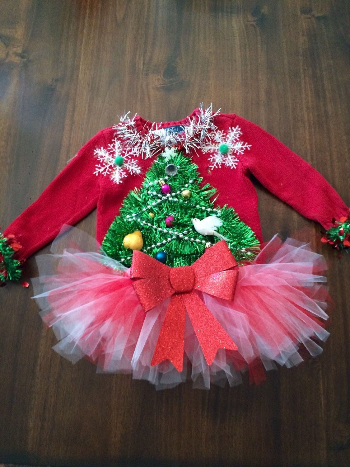 53a8ded9e Adorable toddler 3t Custom Ugly Christmas Sweater 2 turtle doves and pear  tree plus tutu!! by tackyuglychristmas on Etsy