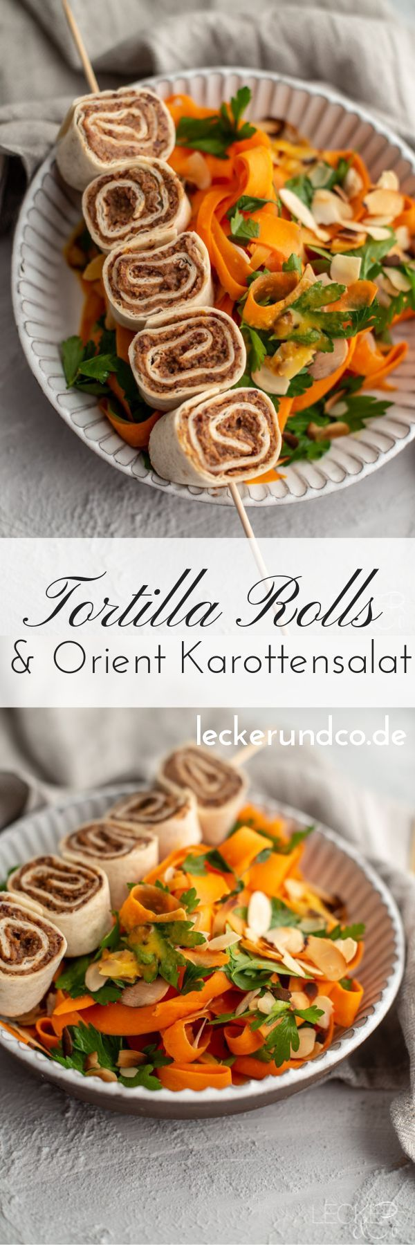 Tortilla rolls with oriental carrot salad Tortilla rolls filled with bean cream and oriental carrot salad | vegan...