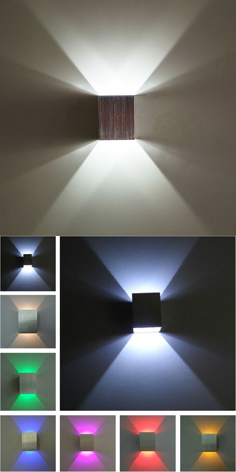 Modern 3w Warm Cold White Led Wall Lamps Square Up Down Lights Indoor Tv Bedside
