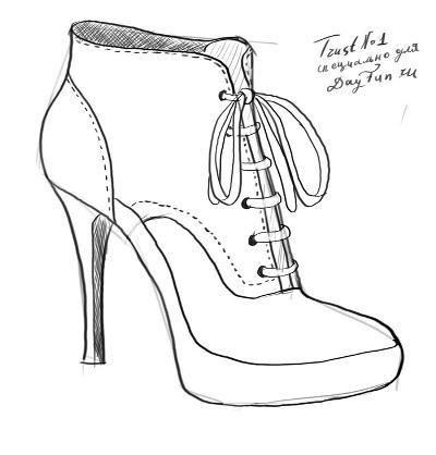 57b2df7b1e12 Ботинки нарисованные карандашом   drawings of clothes   Drawings ...