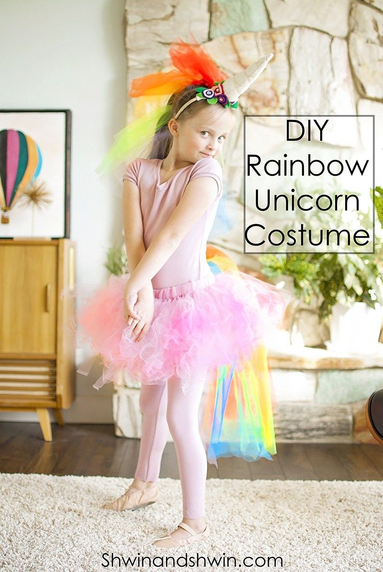 A DIY Rainbow Unicorn Costume perfect for the pink fluffy unicorn dancing on rainbows lover. Quick and easy tutorial to make it yourself.  sc 1 st  Pinterest & DIY Rainbow Unicorn Costume || #Unicorn #Costume #Halloween ...