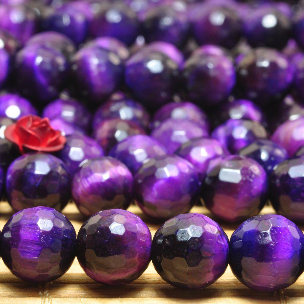 "8mm Purple Jade Round Gemstone DIY Jewelry Loose Beads 15/"""
